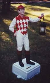 1880 s solid cast iron lawn jockey w original paint rainy day