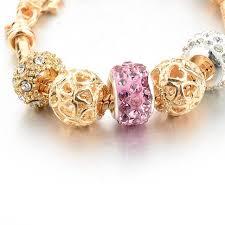 charms bracelet online images Online shop melihe gold heart charms bracelet romantic 2017 pink jpg