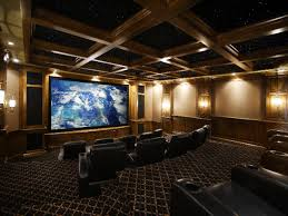 bar home theater woodwork ceiling raised seats bar at the back curtains homes
