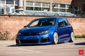 stanced volkswagen golf blue vw golf taken to another level with the lowering and tuning