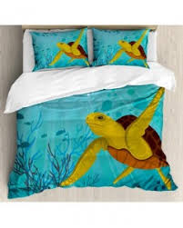 turtle duvet cover set tropic waters coral reef with pillow sham s