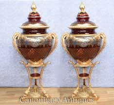 Cut Crystal Vases Antique Pair Large Russian Cut Glass Urns Vases Stands Imperial Crystal Ebay