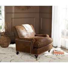 safavieh brown faux leather club arm chair mcr4571g