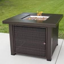 Patio Furniture With Gas Fire Pit by Pleasant Hearth Rio Wicker Propane Gas Fire Pit Table U0026 Reviews
