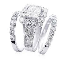 diamond wedding ring sets trio wedding ring sets 14k gold diamond ring set 4 63ct