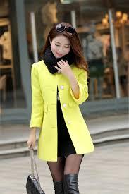 new 2015 women s long wool winter coats women white pink yellow