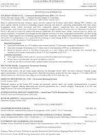 Banking Sample Resume by Investment Banking Analyst Resume Sample Recentresumes Com
