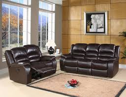 Brown Bonded Leather Sofa Leather Reclining Sofa And Loveseat And Sofa Set In Dark Brown