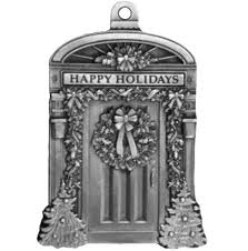engravable front door pewter ornament