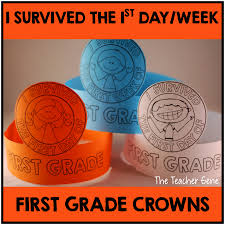 i survived the first day and week of first grade crowns