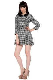 Latest Trends by Autumn Winter Casual Dress Long Sleeve Doll Collar Houndstooth