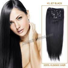 1 inch of hair inch 1 jet black clip in human hair extensions 11pcs