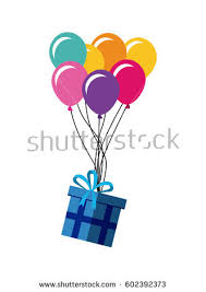 balloons gift gift box colorful balloons white stock vector 602392418