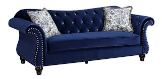Traditional Fabric Sofas Button Tufted Blue Fabric Sofa