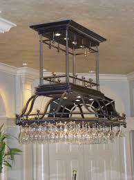 Chandelier Wine Glass Furniture Crystal Chandelier With Metal Stemware Rack And Wood