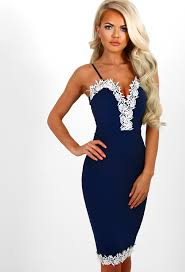 pink boutique dresses take the plunge navy lace trim plunge bodycon dress pink boutique