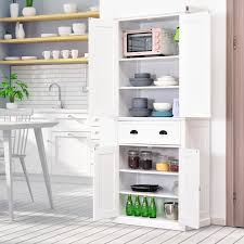 real wood kitchen pantry cabinet homcom traditional freestanding kitchen pantry cabinet cupboard with doors and 3 adjustable shelves white