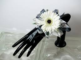 black and white corsage white gerbera wrist corsage in pratt ks the flower shoppe