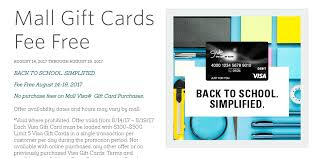 no fee gift cards expired macerich malls fee free visa gift cards 8 14 8 19