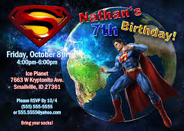 Invitation Card 7th Birthday Boy Superman Birthday Invitations Kustom Kreations