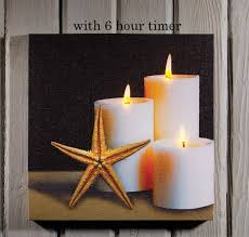 radiance flickering light canvas radiance lighted canvas w timer starfish and candles 24x24 shelley