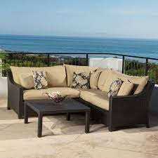 Bliss Patio Furniture Outdoor Sectional Sofa Black Finish Resin Wicker Patio Furniture