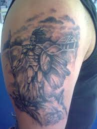 right half sleeve greek warrior tattoo for men real photo