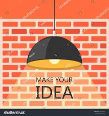 flat design brick wall ceiling lamp stock vector 270770834