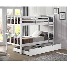 Bunk Bed Trundle Bed Solid Wood Bunk Bed With Trundle Bed White Free Shipping