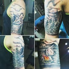 nature tattoo camp tattoo tall pines tattoo fire tattoo lake
