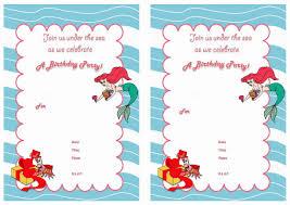 little mermaid free printable birthday party invitations