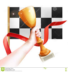 Checkered Flag Eps Hand Holding Up Trophy Vector Winner Cup Illustration With Red