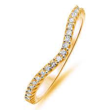 gold eternity ring 0 25ct wishbone shaped brilliant cut diamond half eternity ring