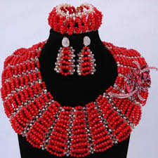 red fashion necklace images Hot red luxury skirt design african beads jewelry set indian new jpg