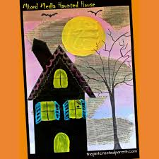 halloween arts and crafts for children mixed media haunted houses u2013 the pinterested parent