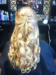 prom half updo style with curls yelp prom dresses pinterest