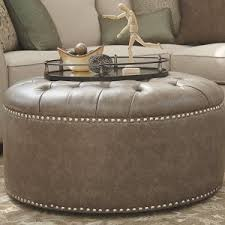 Gray Leather Ottoman Furniture Elegant Round Leather Ottoman For Your Living Room