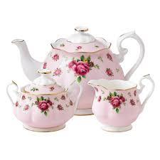 royal albert new country roses pink teapot sugar creamer set