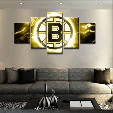 Modern Art Home Decor Boston Bruins Nhl Hockey 5 Panel Canvas Wall Art Home Decor