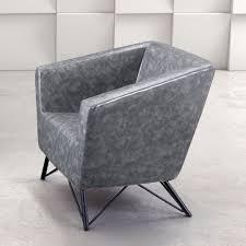 brynn leatherette and powder coated steel modern lounge chair