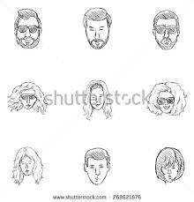 vector set sketch hairstyles icons hair stock vector 268621676