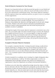resume objective statements resume objective statement tips