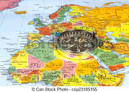 map of europe russia middle east business and on a compass on top of a map of stock