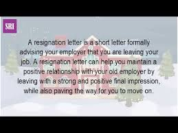 what is the letter of resignation youtube