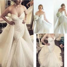 cheap sweetheart mermaid wedding dress detachable skirt free