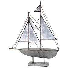 imax worldwide home decorative figurines ahoy galvanized sailboat