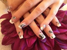 acrylic overlays with french polish and one stroke nail art nail