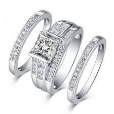 wedding rings sets princess cut 925 sterling silver white sapphire 3 ring sets
