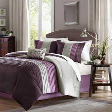 Purple And Cream Striped Curtains Black Wooden Bed Gold Curtains White Striped Black Wall Black