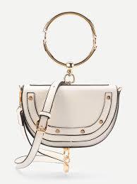 half ring half moon shaped crossbody bag with ring handle emmacloth women